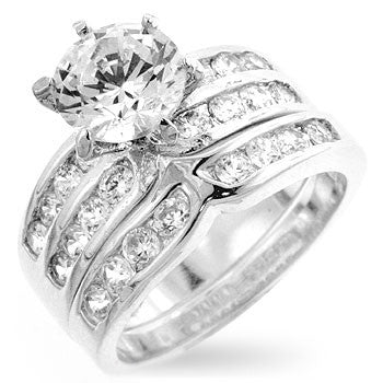 Engagement Ring Set with Channel and Prong Set Round Cut Clear Cubic Zirconia