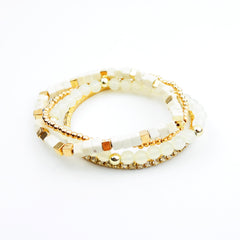 Multi Beads and Rhinestone Stretch Bracelet - hoopsbaby.com - 2