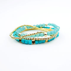 Multi Beads and Rhinestone Stretch Bracelet - hoopsbaby.com - 3
