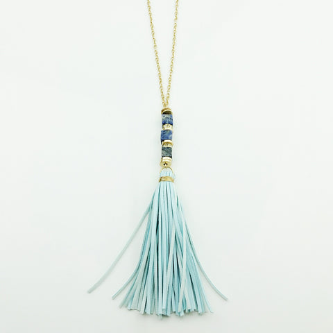 Long Necklace Featuring a Leather Blue Tassel