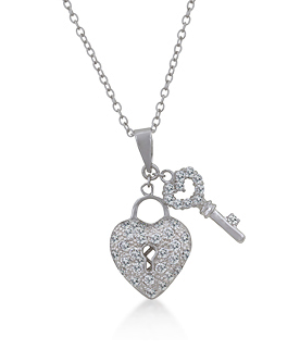 Heart Locket Pendant CZ Necklace - hoopsbaby.com