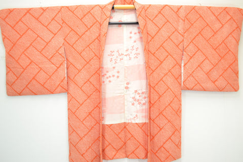 Fully Shibori Vintage Orange Geometric