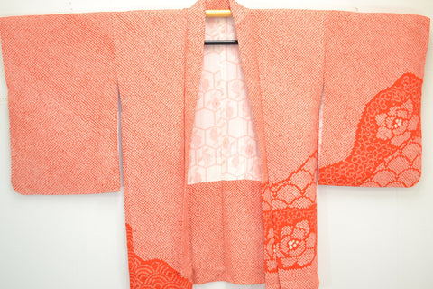Fully Shibori NEW Orange Tsunami Wave With Peony Flowers