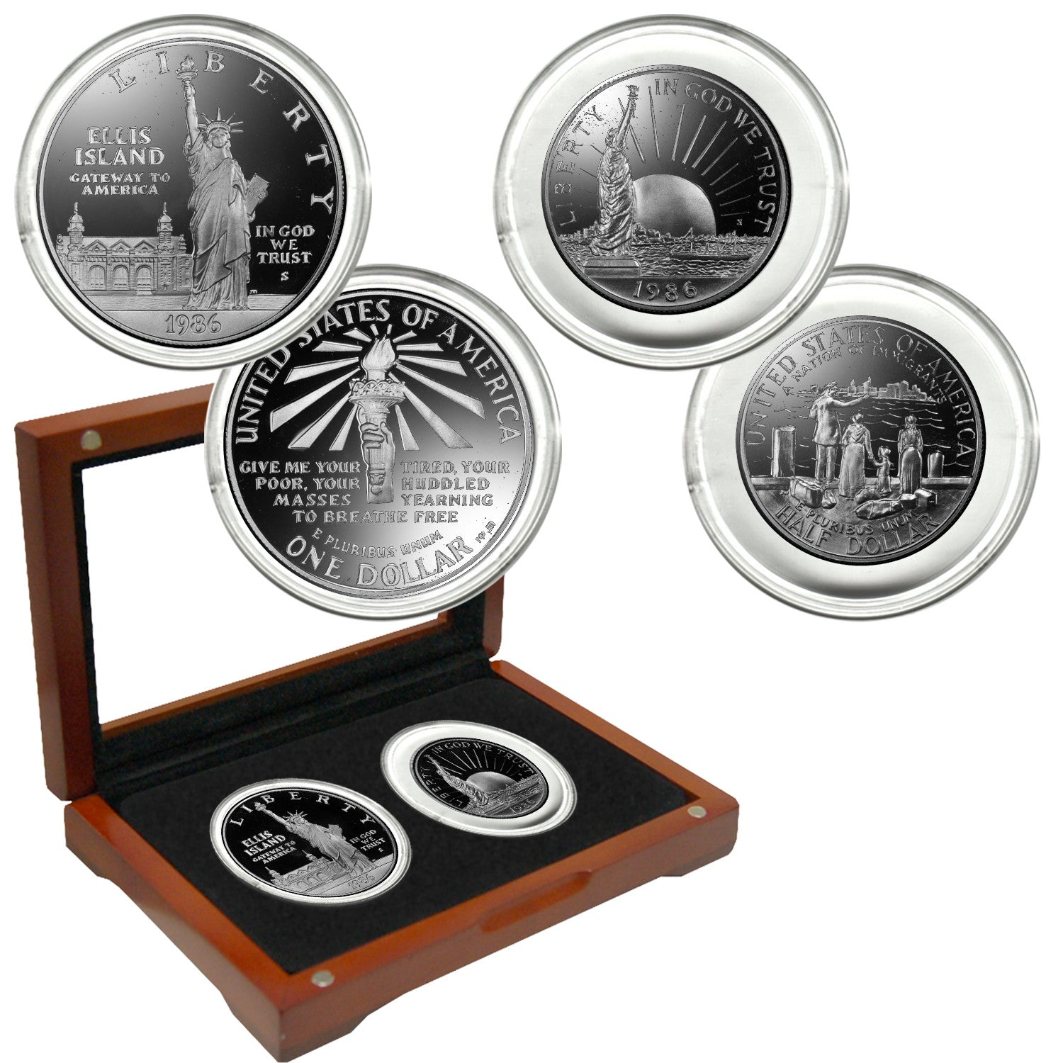 1986 Statue of Liberty 2 Coin Set Set Proof Condition