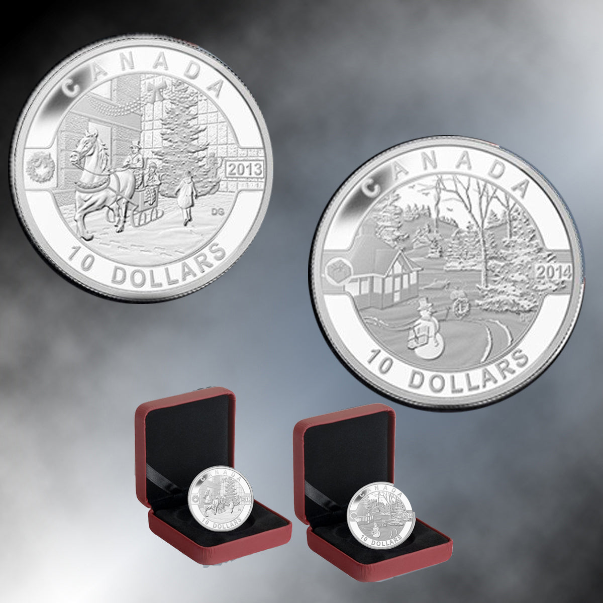 Set of 2013 & 2014 Canada 1/2 oz Silver $10 Holiday Scene