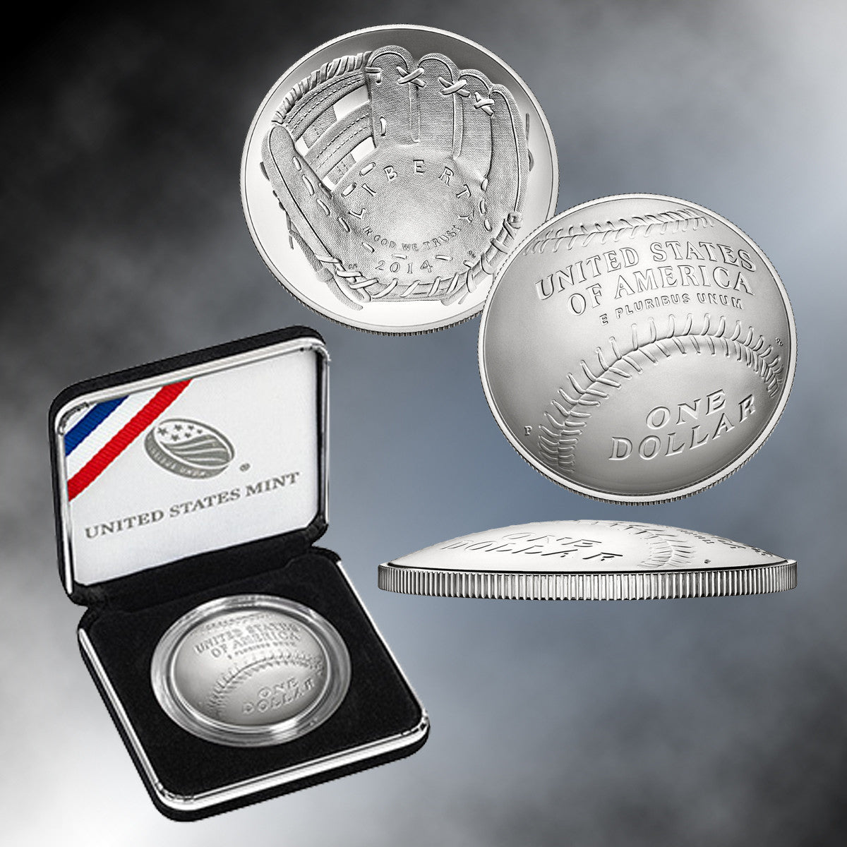 2014 Baseball Hall of Fame Brilliant Uncirculated Silver Dollar