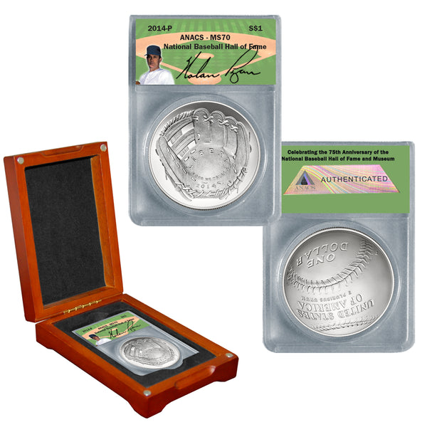 "Autographed 2014 MS70 Baseball Hall of Fame Silver Dollar ""Nolan Ryan"""