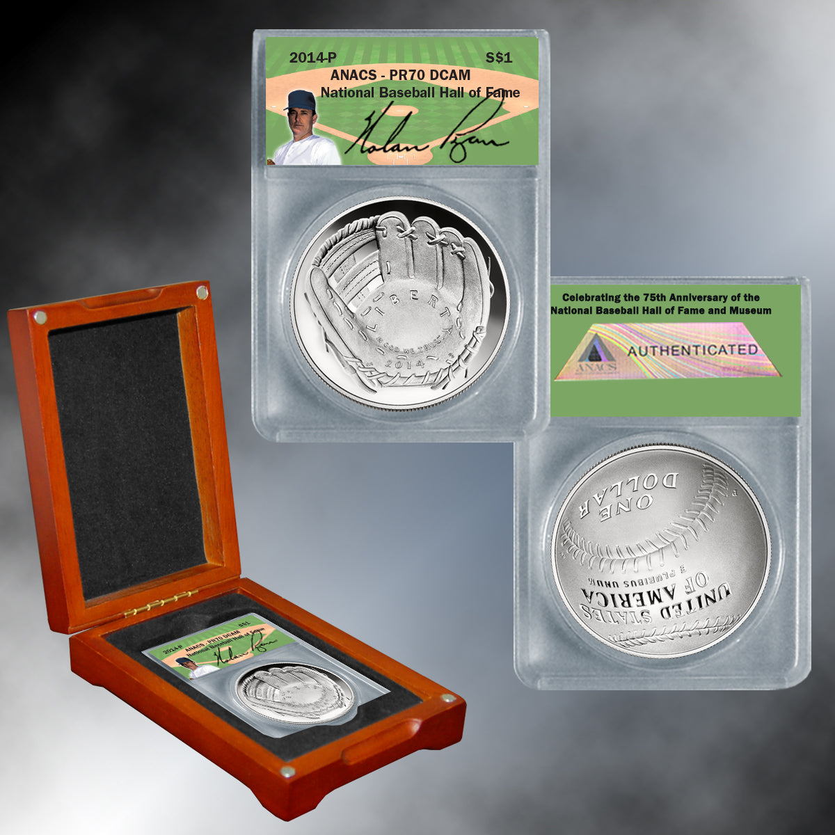 "Autographed 2014 PR70 Baseball Hall of Fame Silver Dollar ""Nolan Ryan"""