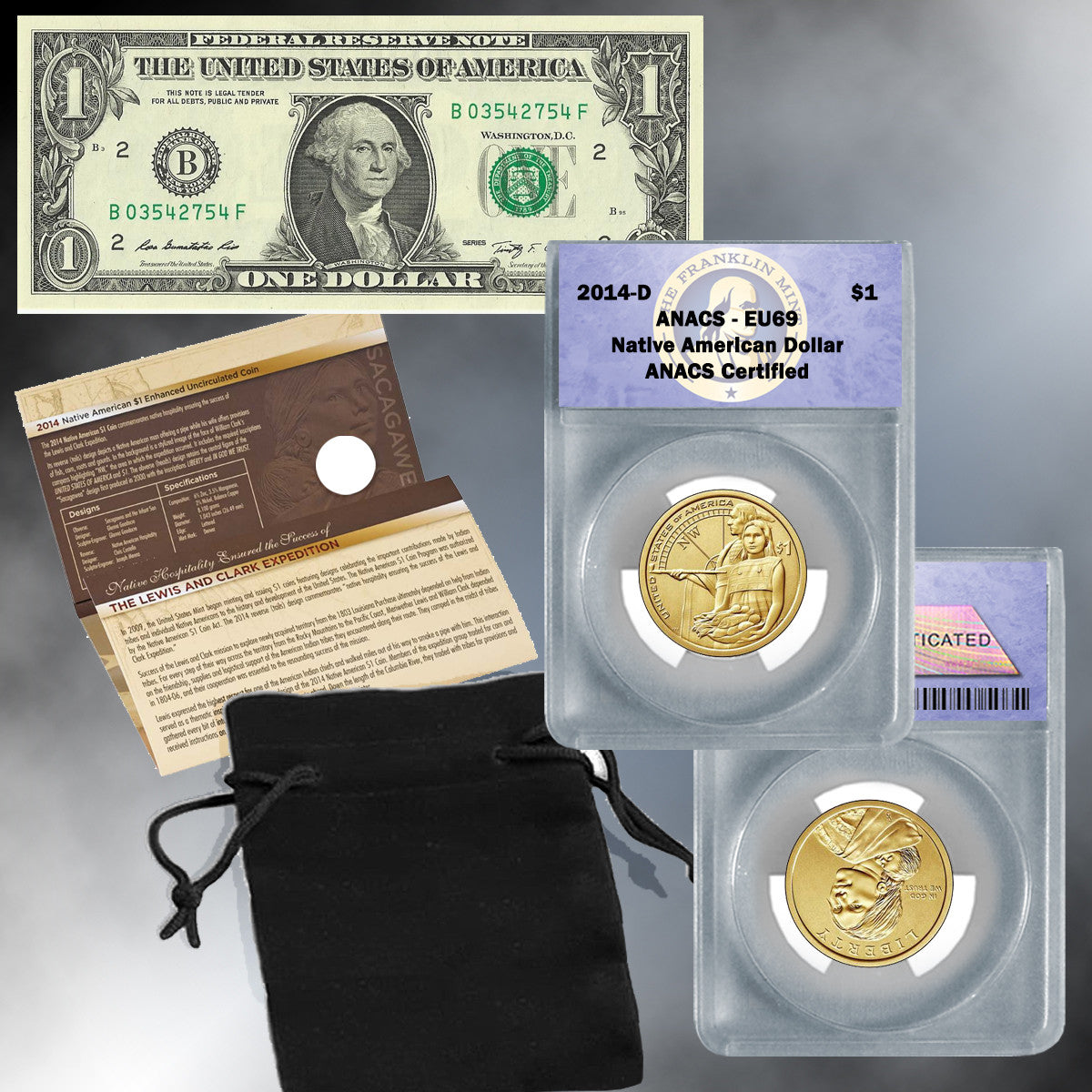 2014 EU69 Native American Dollar and $1 Bill Set