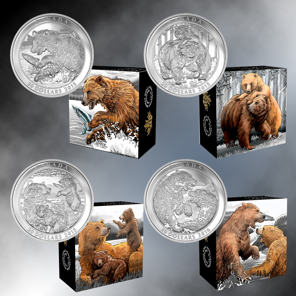 Set of 4 Canada $20 1oz Silver Grizzly Bear Coins