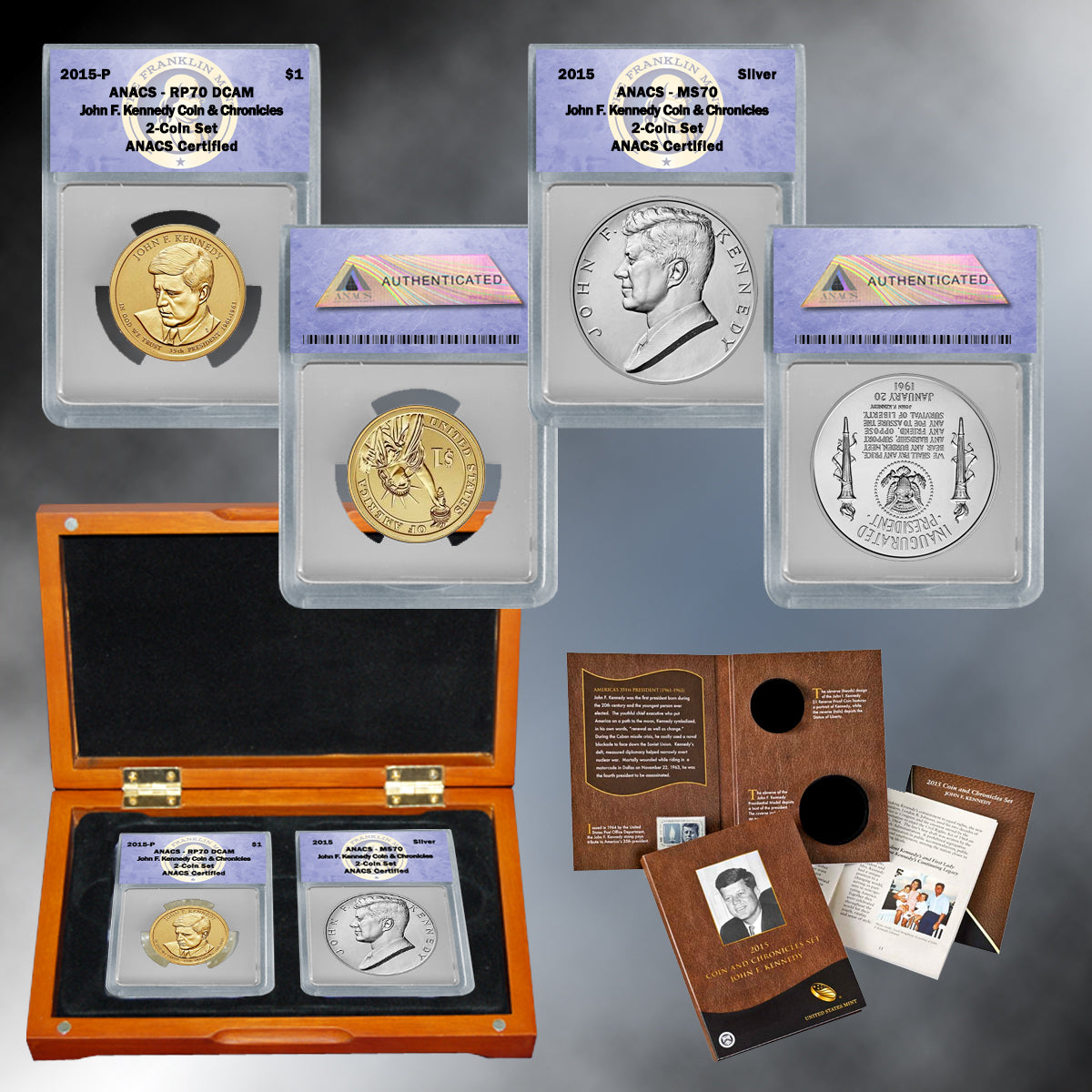 2015 Coin & Chronicles Set - John F. Kennedy ANACS 70