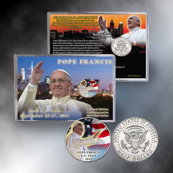 2015 Papal Visit Pope Francis Colorized Half Dollar
