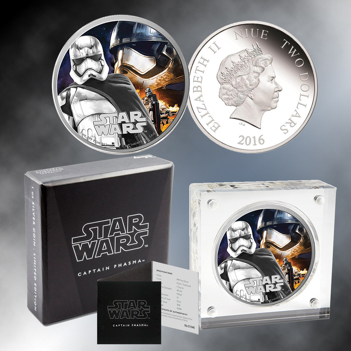 "2016 ""Star Wars"" 1 oz. Silver Niue $2 Commemorative Proof Coin - Capt. Phasma"
