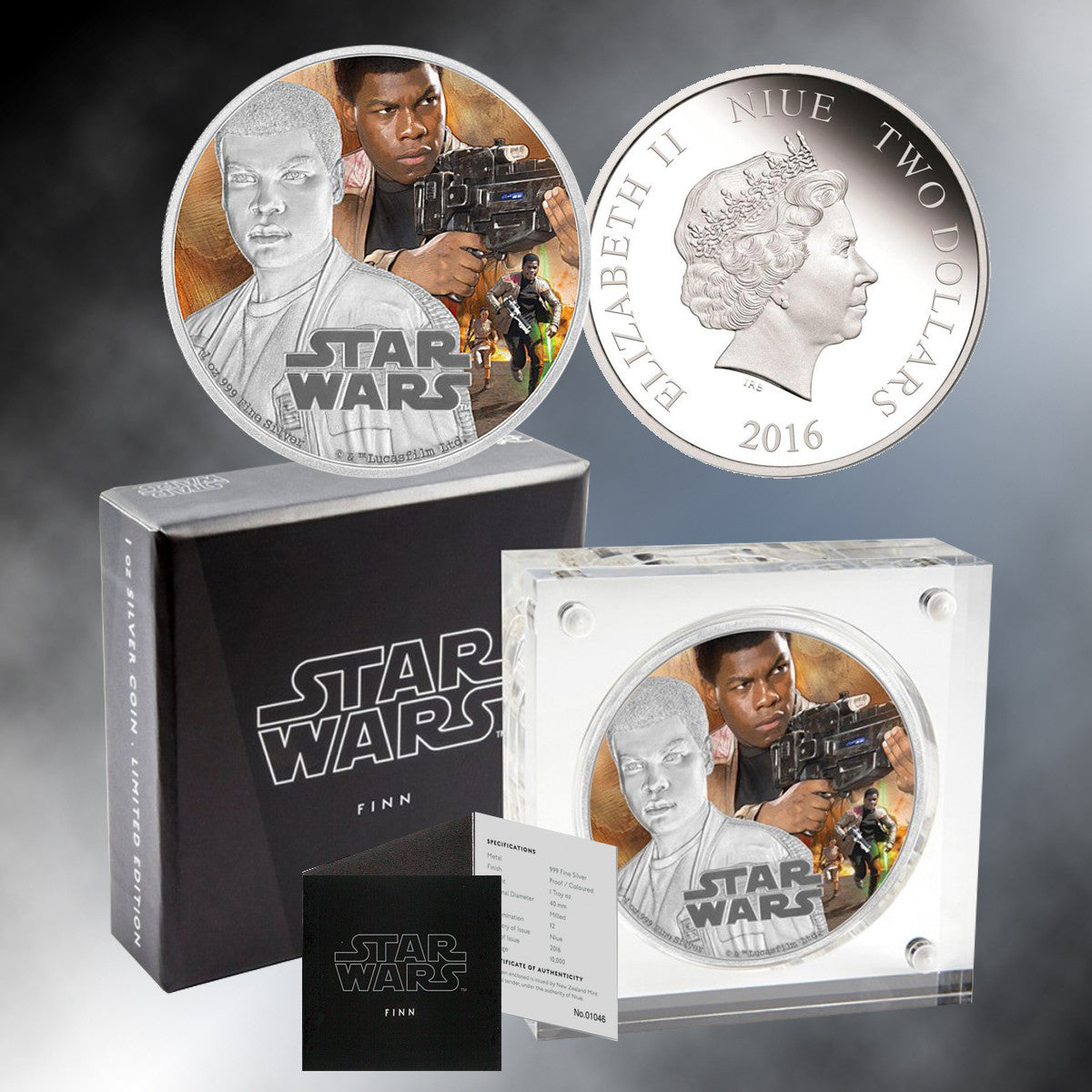 "2016 ""Star Wars"" 1 oz. Silver Niue $2 Commemorative Proof Coin - Finn"