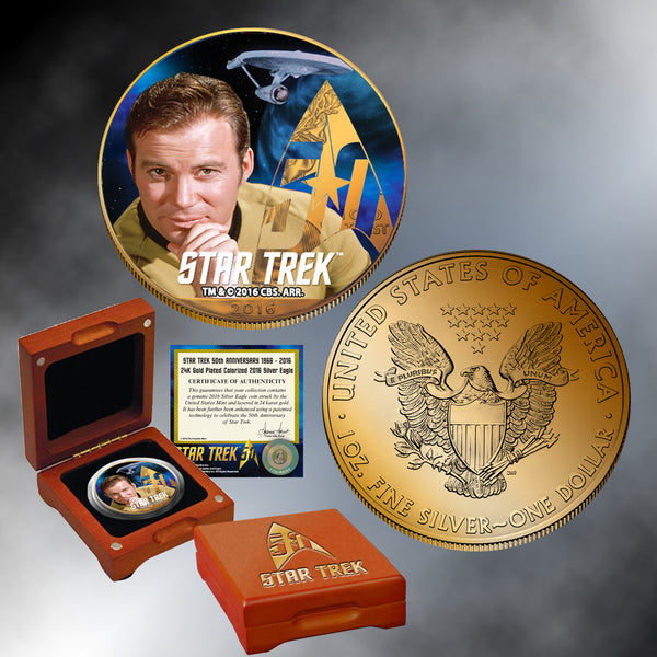 Star Trek 24K Gold Plated Colorized Silver Eagle (choice)