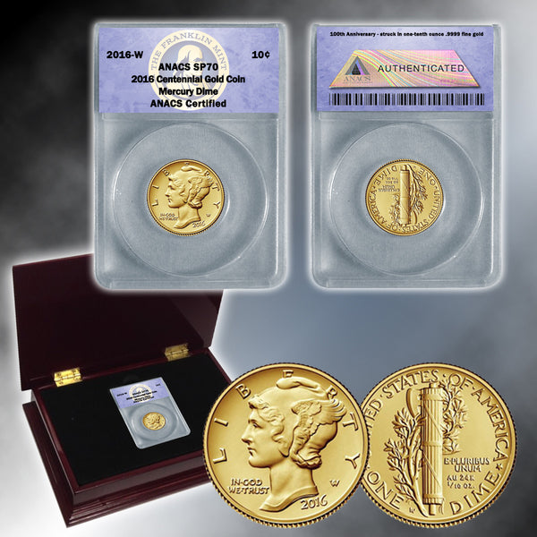 Mercury Dime 2016 Centennial Gold Coin Sp70 Franklin
