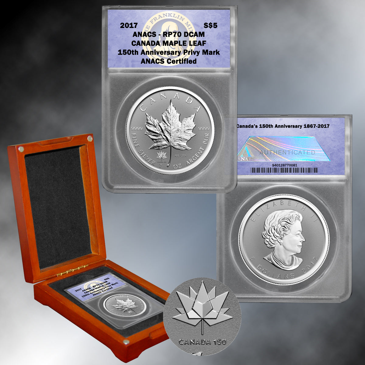 2017 $5 Silver Maple Leaf Canada 150 Privy Coin RP70