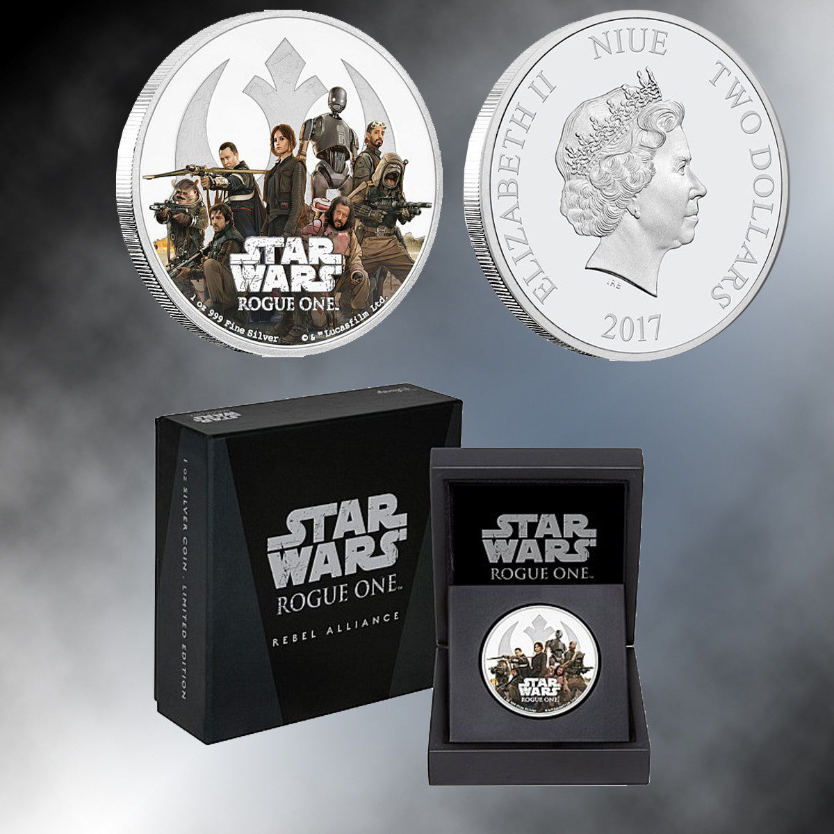 "2017 ""Star Wars: Rogue One "" 1 oz. Silver Niue $2 Proof Coin – Rebellion"