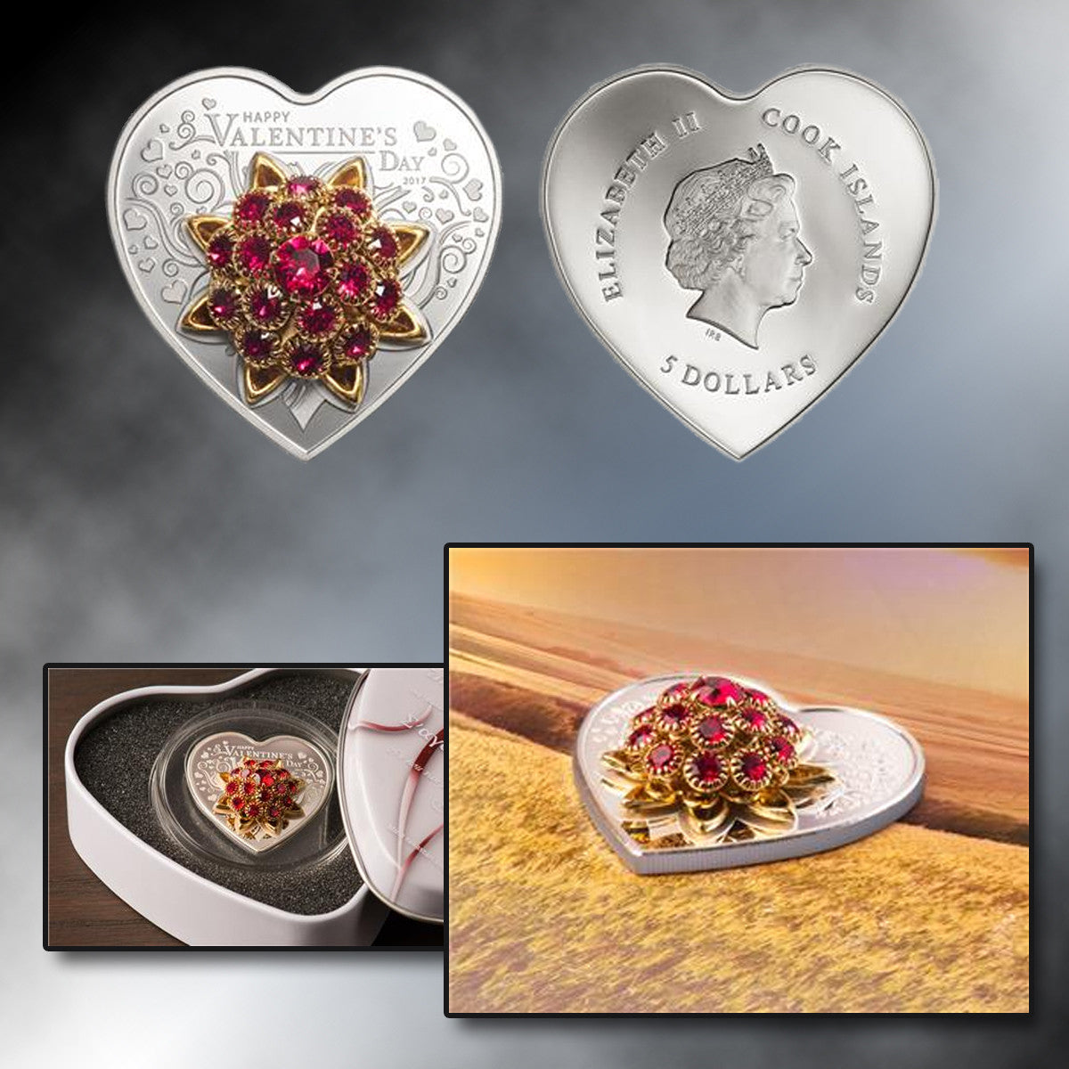 2017 Cook Islands Silver Happy Valentine's Day-Heart Shape Coin with Swarovski Crystals