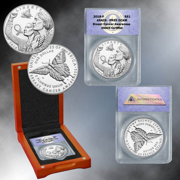 Breast Cancer Awareness 2018 Silver Dollar PR69