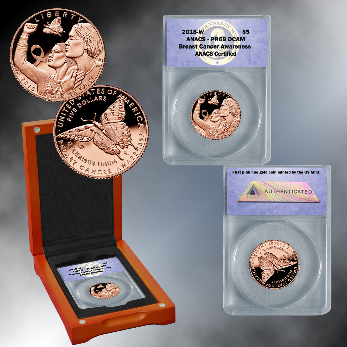 Breast Cancer Awareness 2018 $5 Gold Coin PR69