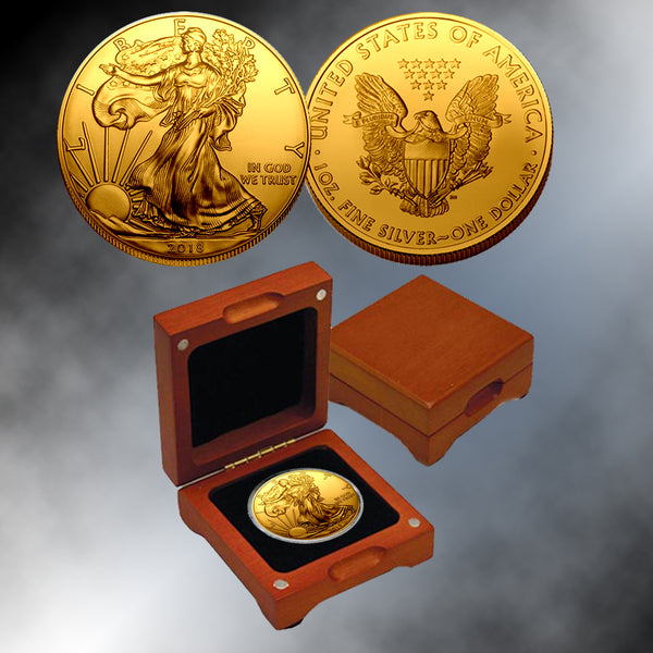 2018 24k Gold Plated Silver Eagle Franklin Mint Coins