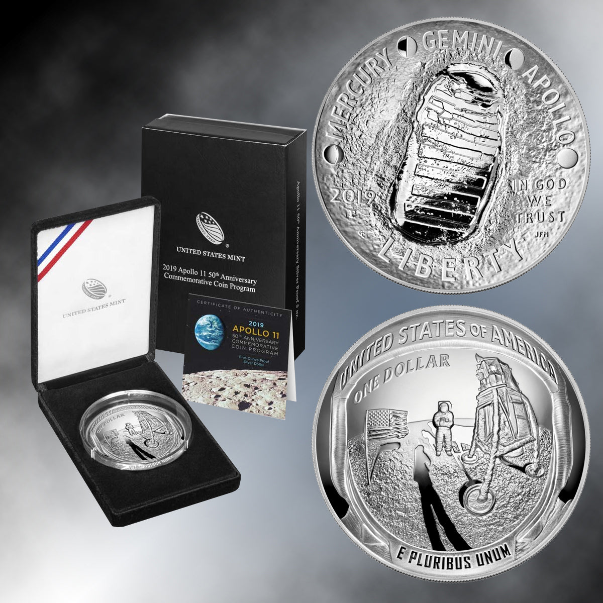 Apollo 11 50th Anniversary 2019 Five Ounce Proof Silver Dollar