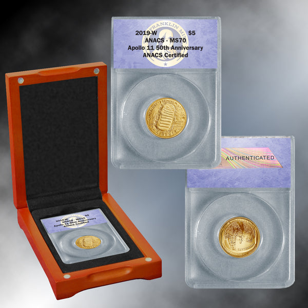 Apollo 11 50th Anniversary 2019 MS70 Gold $5 Dollar Coin
