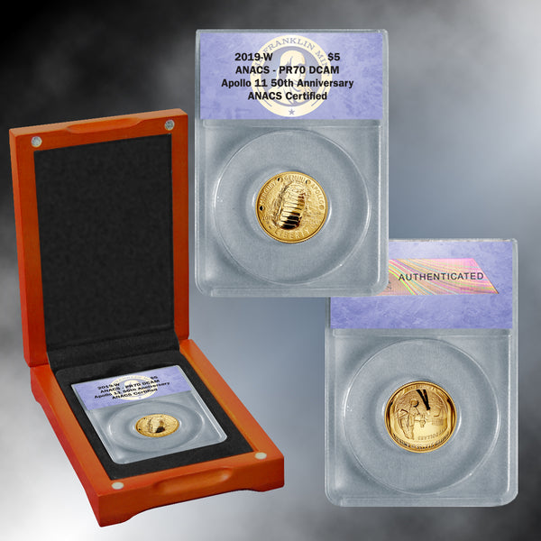 Apollo 11 50th Anniversary 2019 PR70 Gold $5 Dollar Coin