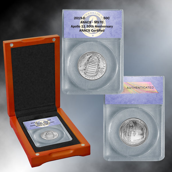 Apollo 11 50th Anniversary 2019 MS70 Clad Half Dollar
