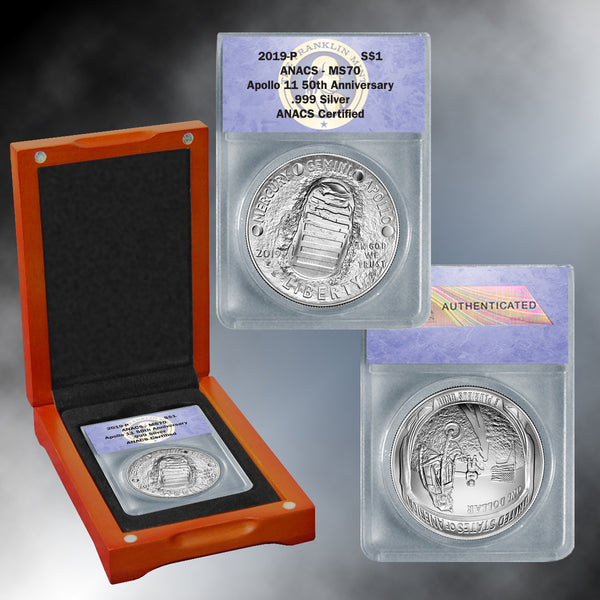 Apollo 11 50th Anniversary 2019 MS70 Silver Dollar