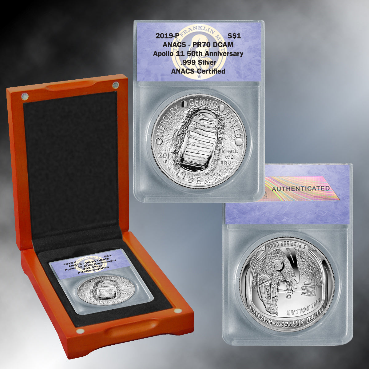 Apollo 11 50th Anniversary 2019 PR70 Silver Dollar