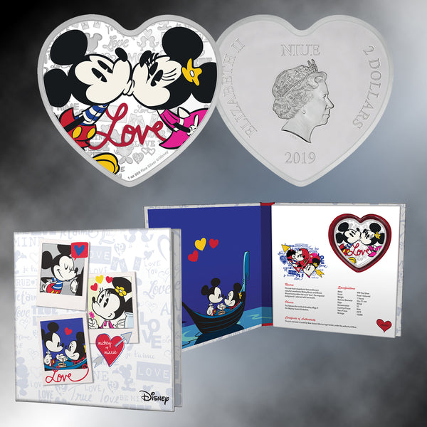 2019 Disney Mickey & Minnie Love Silver Heart-Shaped Coin