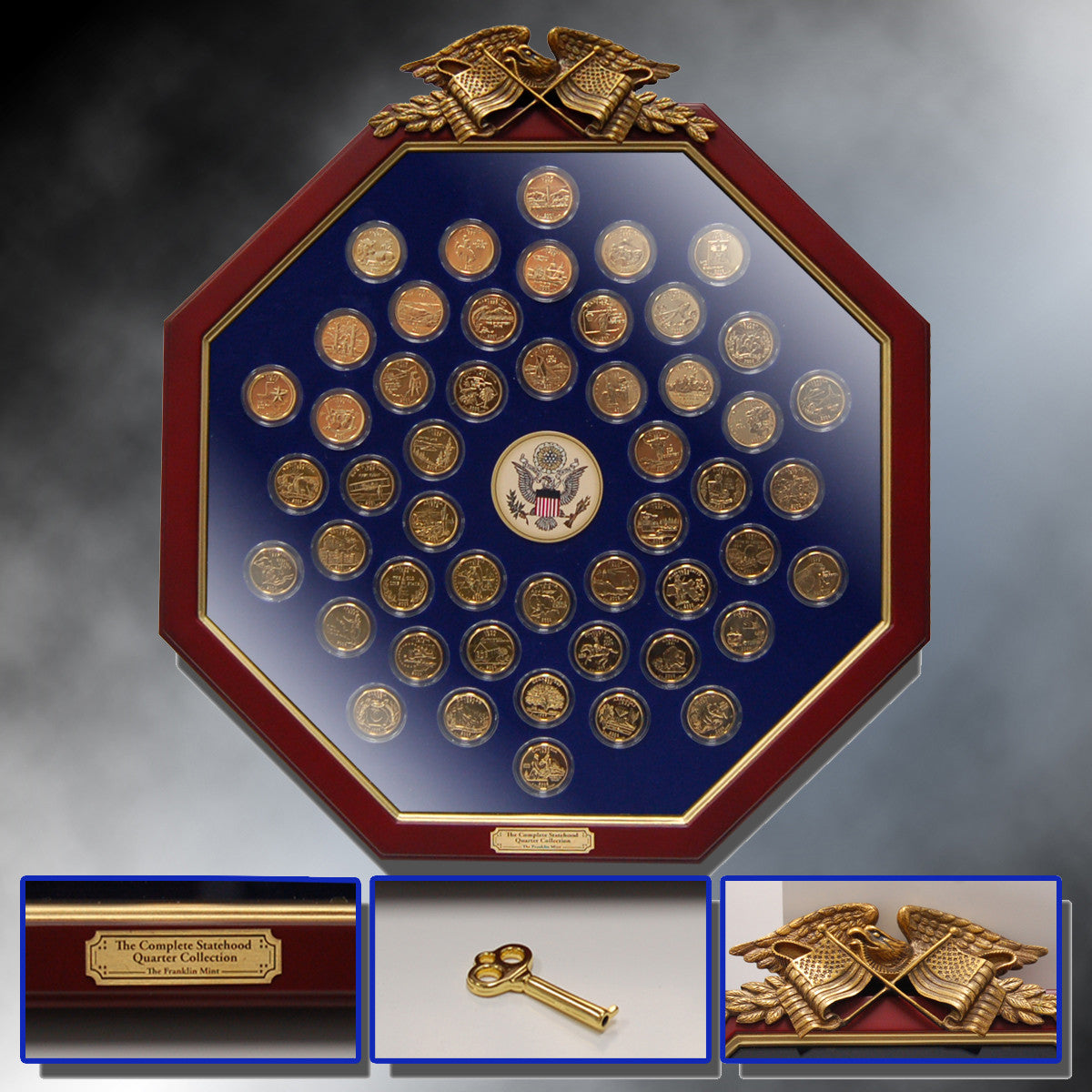24K Gold Fifty State Quarters - in Octagon Wooden Frame