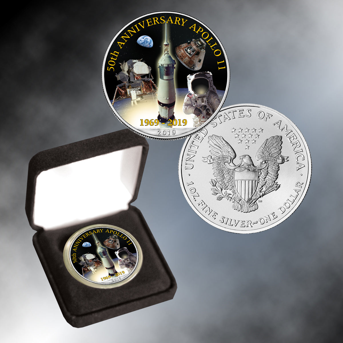 Apollo 11 50th Anniversary  2019 Colorized Silver Eagle