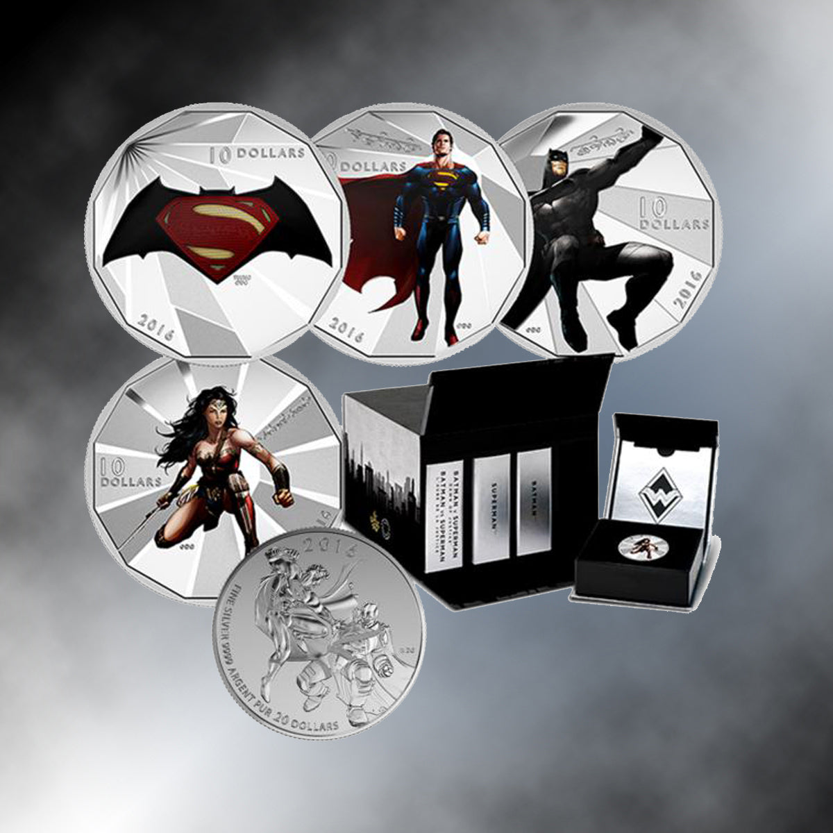 "2016 Complete Batman v. Superman ""Dawn of Justice"" 99.99% Silver 5-Coin Set"