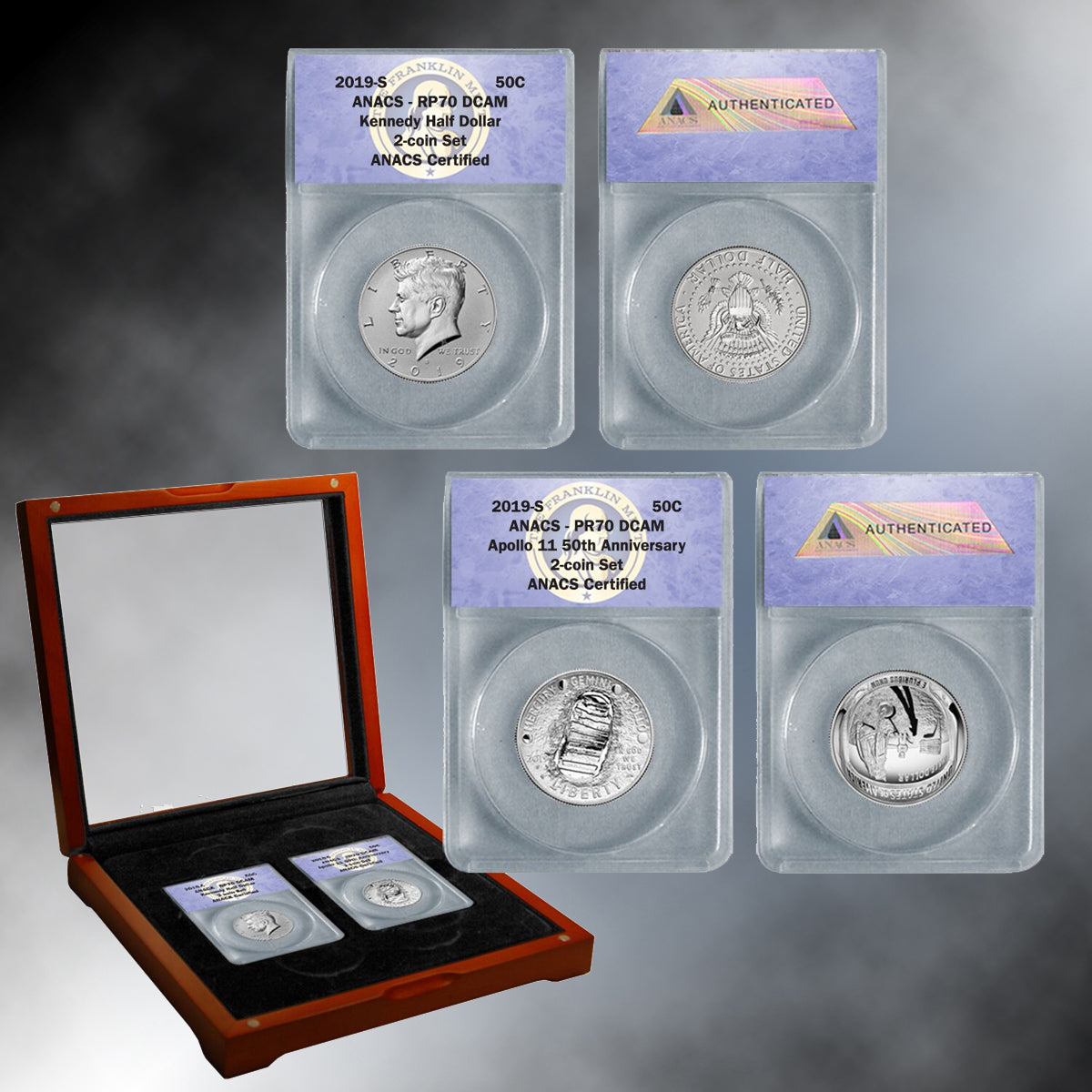 2019 Apollo 11 50th Anniversary & Kennedy Half Dollar Set Graded 70