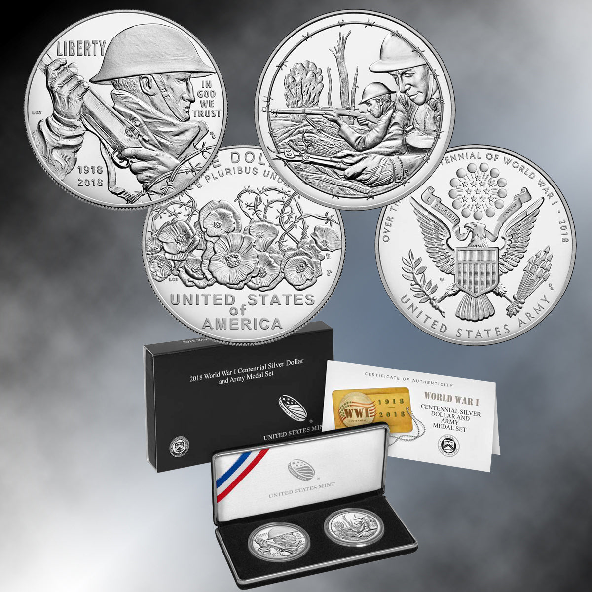 2018 WWI Centennial Silver Dollar and Medal Set - ARMY