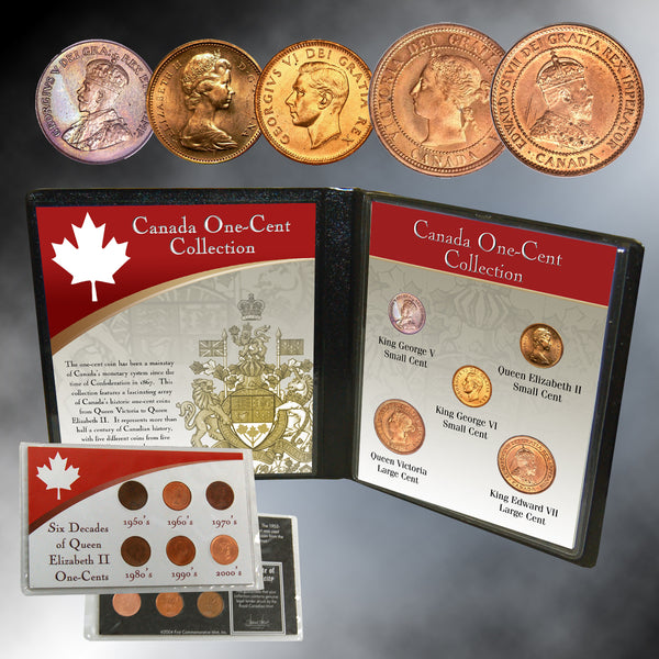Canada One-Cent Collection With FREE Six Decades of Queen Elizabeth II One-Cent Coins