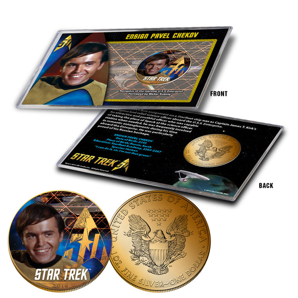 """Star Trek"" Chekov 24K Gold Plated Colorized Silver Eagle"
