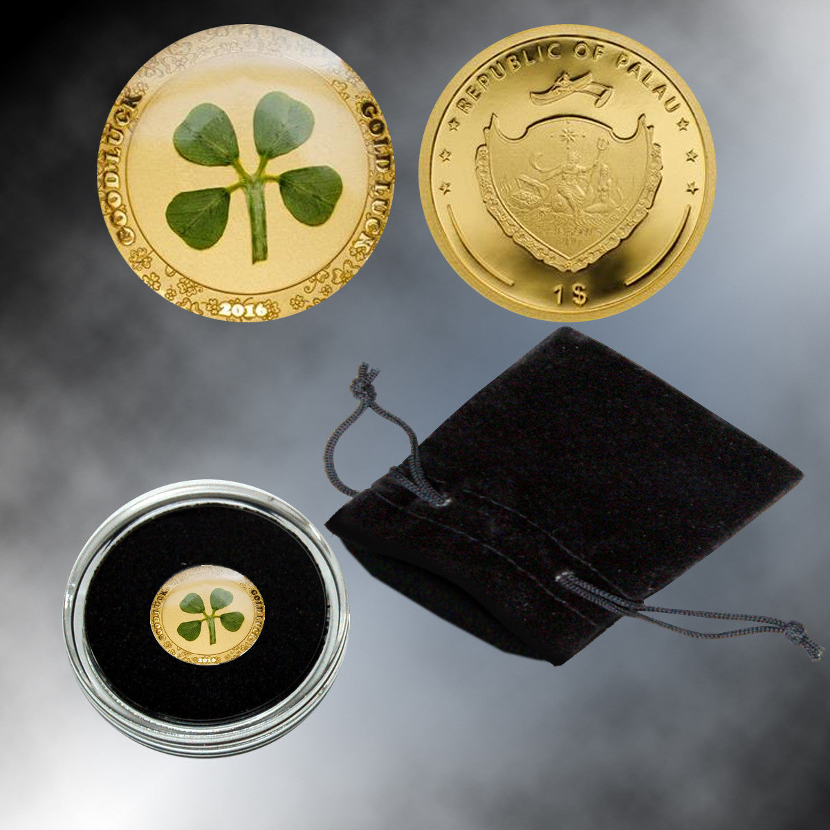 Four-Leaf Clover .9999 Gold $1 Palau Coin Proof Limited-Edition of 2,016