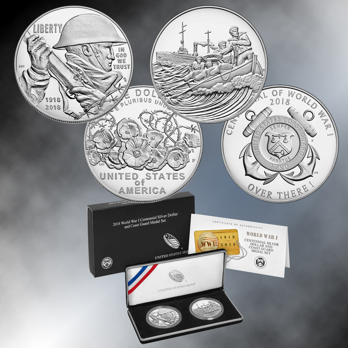 2018 WWI Centennial Silver Dollar and Medal Set - COAST GUARD