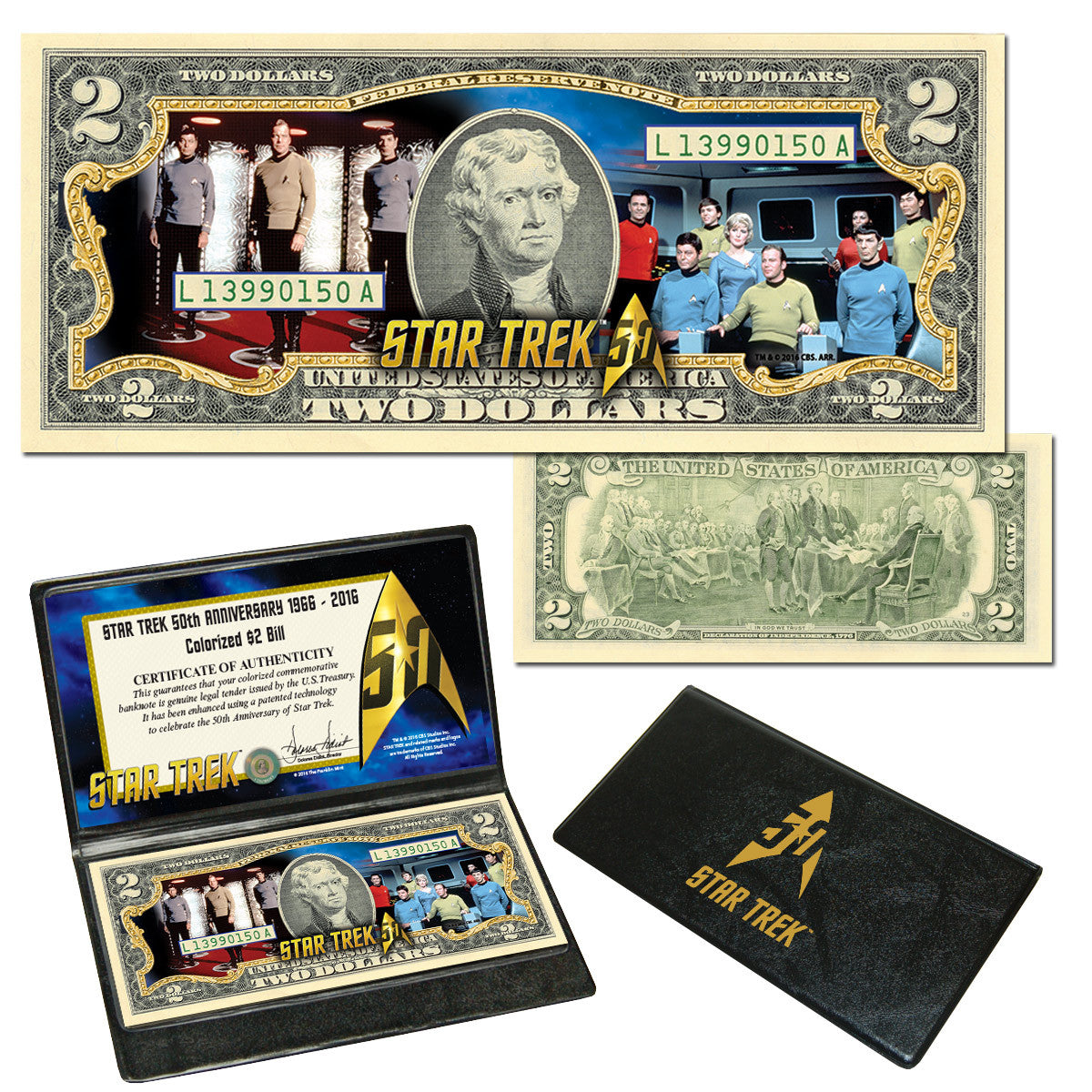 Star Trek Crew Colorized $2 Bill