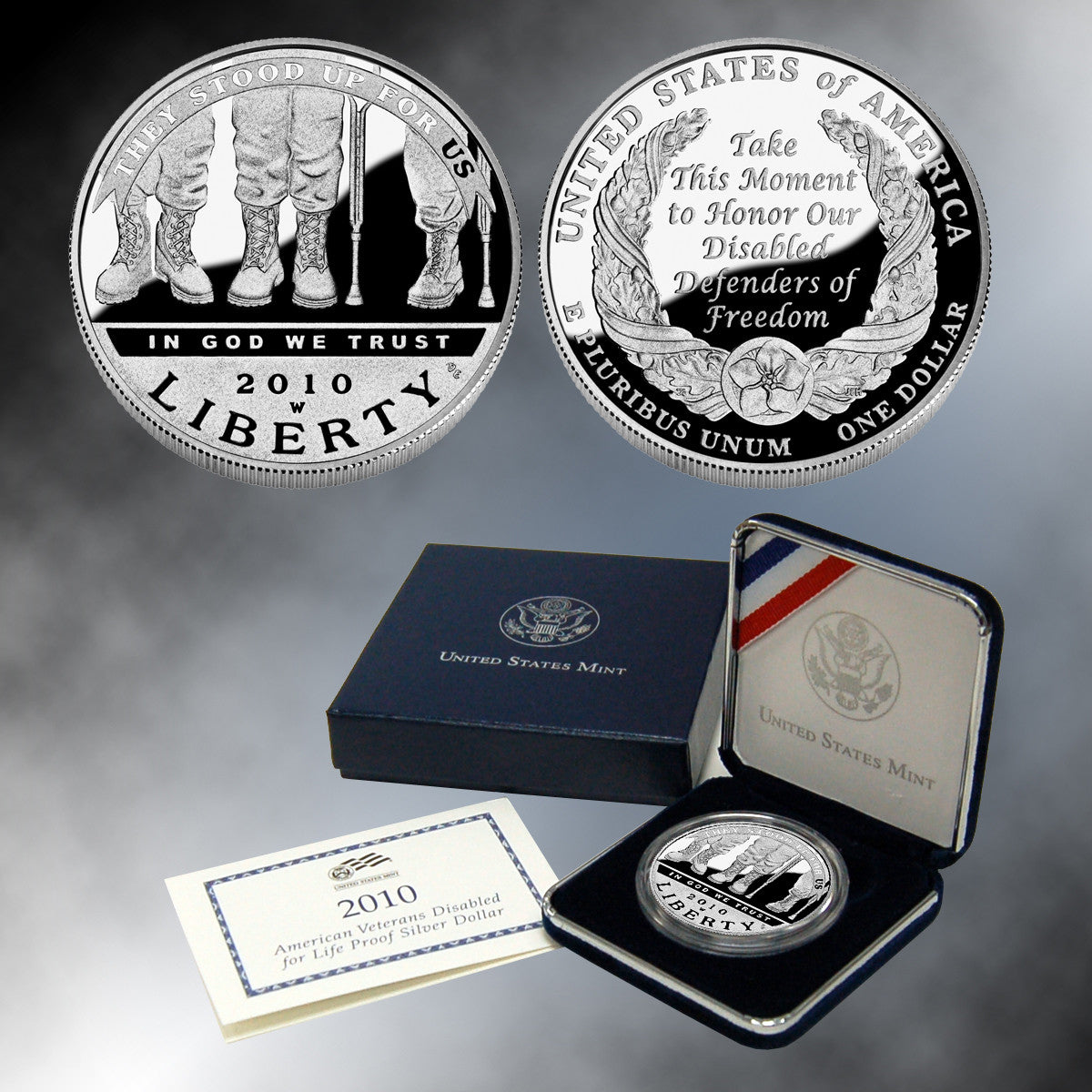 2010 American Veterans Disabled for Life Silver Dollar  - Proof