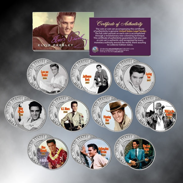 ELVIS PRESLEY Movies Set of 10  Colorized JFK Half Dollars