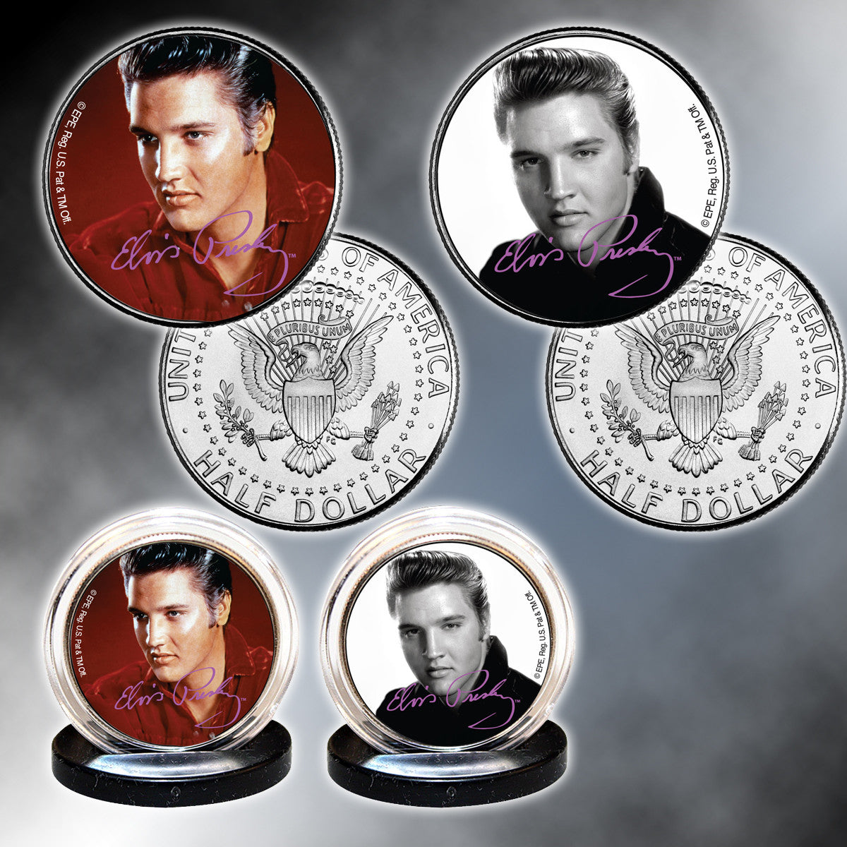 Set of 2 Elvis Colorized Half Dollars
