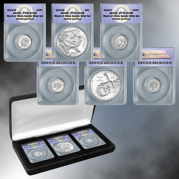 2015 March of Dimes 3 pc Silver Set PR69 & RP69