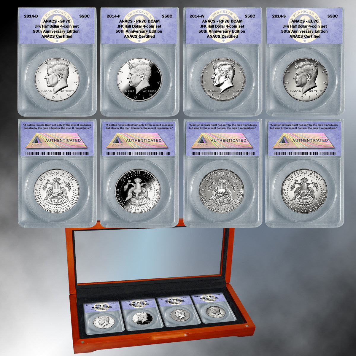 "2014 ANACS ""70"" 4-piece 50th Anniversary Silver Kennedy Half Dollar Set"