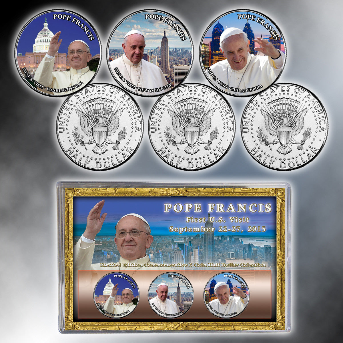 2015 Papal Visit Pope Francis JFK Commemorative Half Dollars