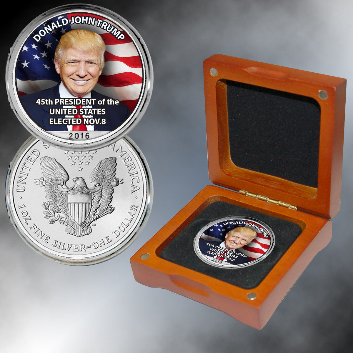 Donald Trump 45th President Colorized Silver Eagle